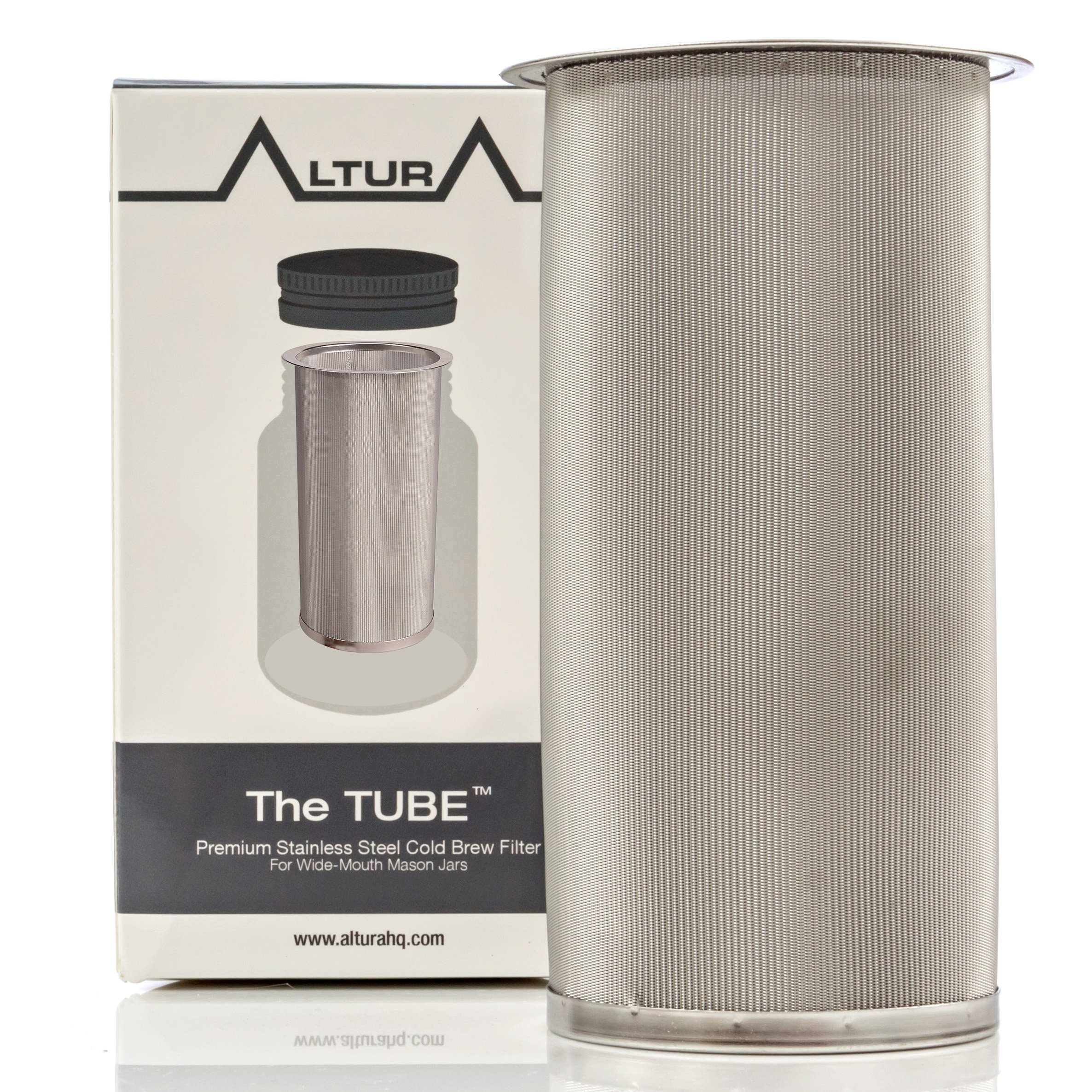 The TUBE: Cold Brew Coffee Maker and Tea Infuser Kit. Premium Stainless Steel Mesh Filter Designed to Fit All Wide Mouth Mason Jars. FREE Brewer Guide and Recipe eBook (Small) by Altura