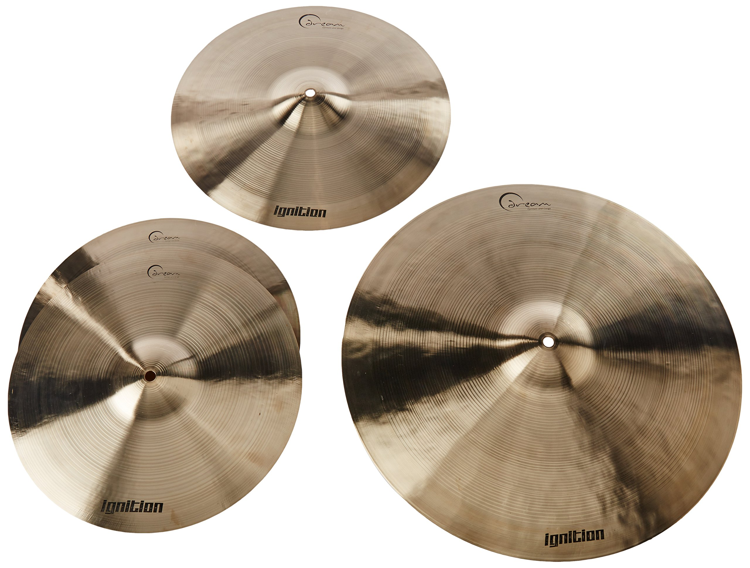 Dream Cymbals IGNCP3 Ignition Cymbal Pack w/ 14'' Hi Hats 16'' Crash 20'' Ride and Gig Bag