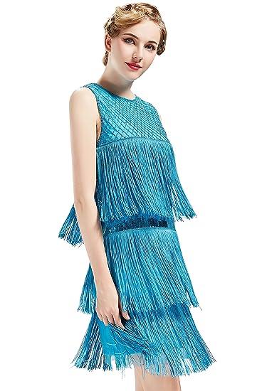 7a6c4f4f ArtiDeco 1920s Flapper Fringed Sequin Dress Roaring 20s Fancy Dress Gatsby  Costume Dress Vintage Beaded Evening Dress: Amazon.co.uk: Clothing