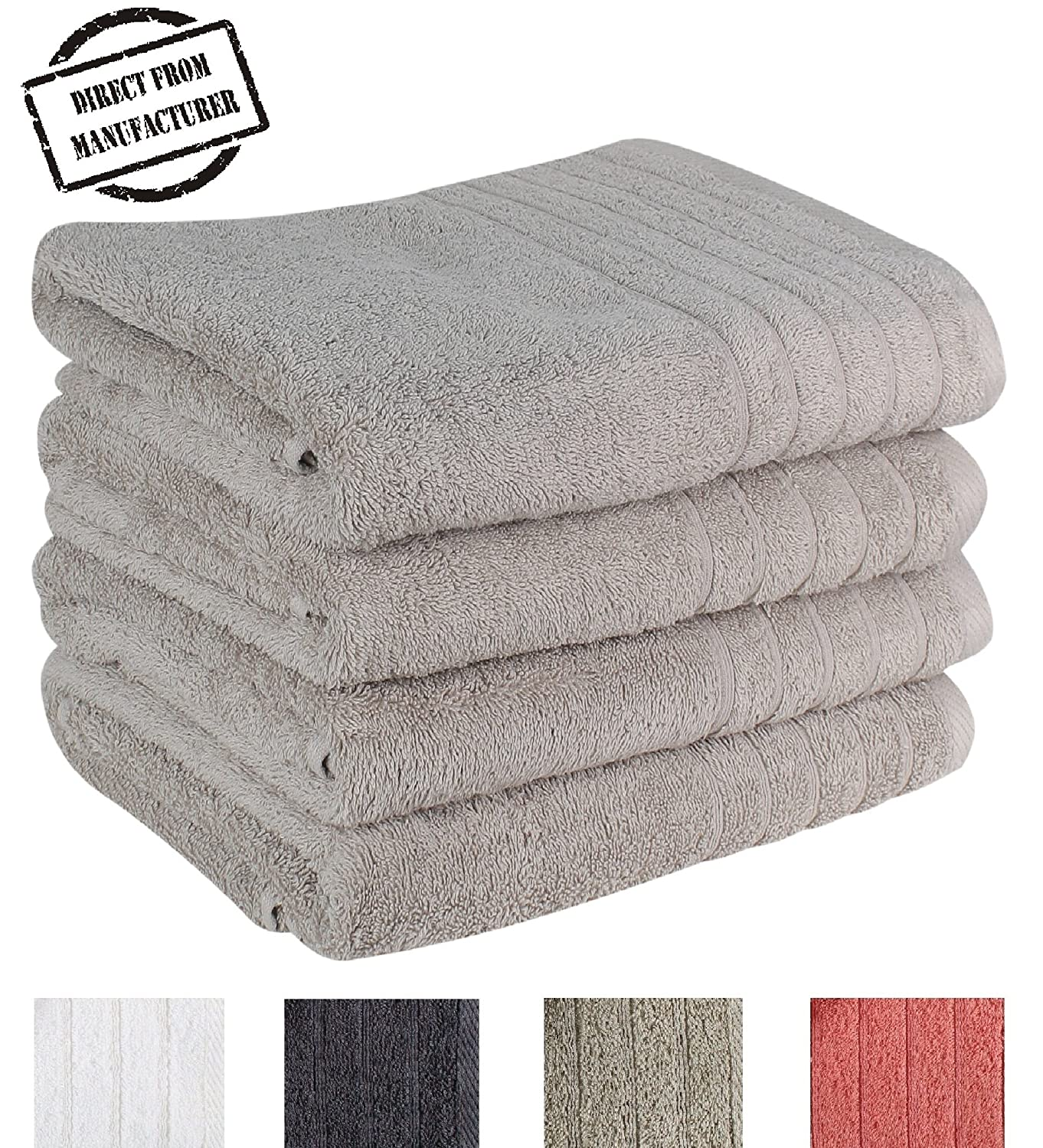 """Avira Home Premium Bath Towel Set (Pack of 4, 27"""" x 49"""") 100% Ring-Spun Cotton Towels for Hotel - Spa, 600 GSM, Soft, Highly Absorbent, Machine Washable"""