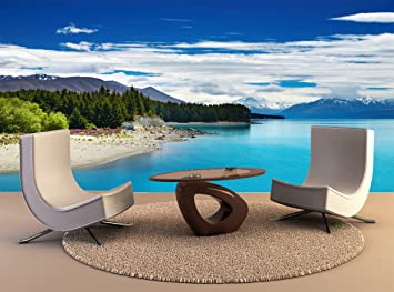 Wall Tapestry Pukaki Lake New Zealand Wall Art Decor Photo Wallpaper on chaise sofa sleeper, chaise recliner chair, chaise furniture,