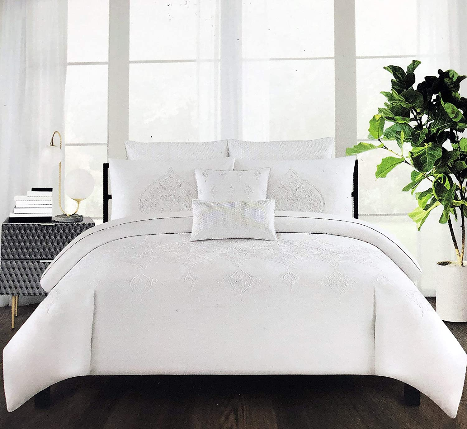 Royal Embroidery Tahari Home Bedding King Size Luxury 3 Piece Duvet Comforter Quilt Cover Shams Set Embroidered White Thread Floral Medallion Pattern on Solid White