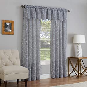 "LORRAINE HOME FASHIONS, Gray, Willow Window Curtain Panel, 54"" x 63"""