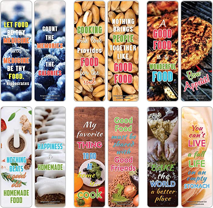 Creanoso Inspiring Sayings Food Lovers Series 2 Bookmarks (12-Pack) – Premium Gift Set – Awesome Bookmarks for Chefs, Cooks, Adult Men & Women – Six Bulk Assorted Bookmarks Designs