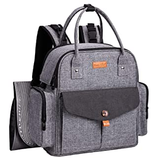 HapTim Baby Diaper Bag Backpack,Compact Baby Nappy Changing Bag(5318dark Grey-2)