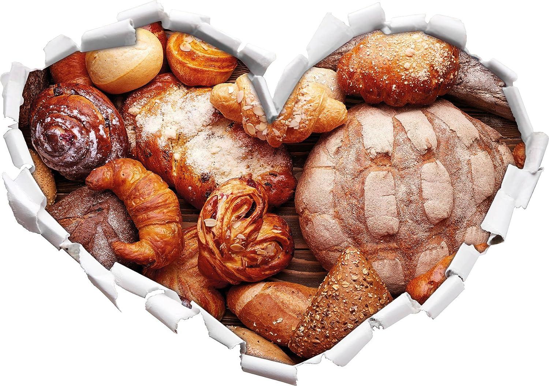 forme de coeur Pain et petits pains dans le look 3D, mur ou une porte autocollant Format: 62x43.5cm, Stickers muraux, Stickers muraux, Décoration murale Stil.Zeit