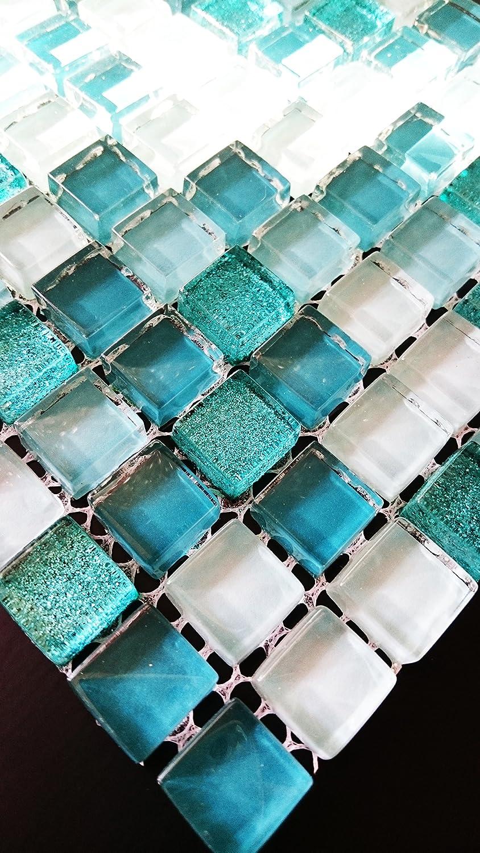 Glasmosaik Diamant Star grün/türkis mix 1,5x1,5x0,8 cm, MOSAKO ...