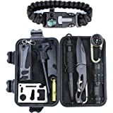 HSYTEK Survival Gear Kit 11 in 1,Professional Outdoor Emergency Survival Kit with Saber Card Kit|Tactical Pen|Survival Bracelet|Temperature Compass|Whistle| Fire Starter|Flashlight for Camping, Hiking ,Travel or Adventures Necessary