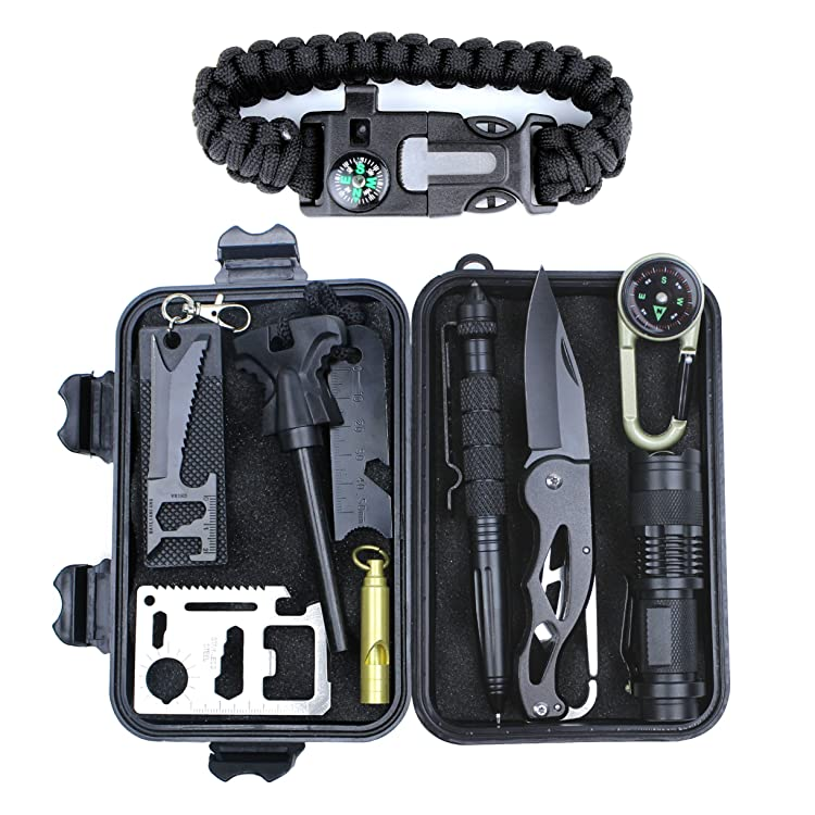 HSYTEK Survival Gear Kit 11 in 1,Professional Outdoor Emergency Survival Kit with Tactical Pen|Bracelet|Temperature Compass|Fire Starter|Flashlight for Camping, Hiking