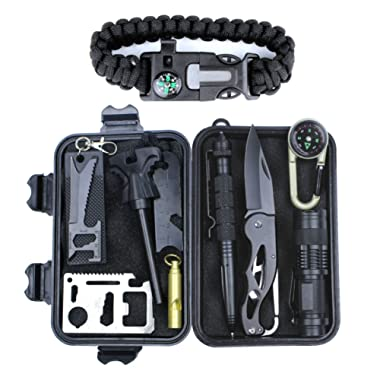 HSYTEK Survival Gear Kit 11 in 1,Professional Outdoor Emergency Survival Kit with Tactical Pen|Bracelet|Temperature Compass|Fire Starter|Flashlight for Camping, Hiking,Travel or Adventures Necessary