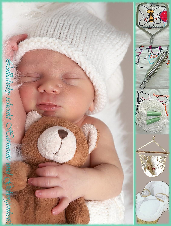 Lullababy® Federwiege SPAR-SET Deluxe_Weiss | Lullababy® Therapeutically Baby Movement | Federwiege mit silberner Feder und weissemm Netz. Bestehend aus: Kurzer silberner Sanftschwingfeder -mit integrierter Überdehnsicherung- | weissem Netz | Spezial-Deckenhaken mit Dübel | Karabiner |Bio-Babyhängematte | Türklammer | komplett ausgestatteter Moseskorb