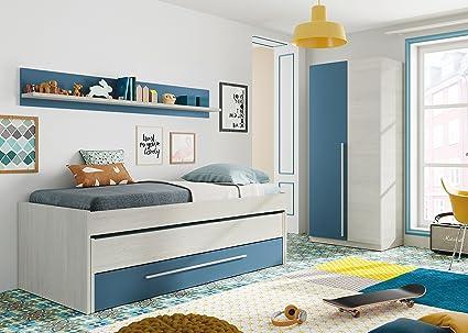 Pack habitación Juvenil con Cama Nido Estante de Pared, Armario y SOMIERES INCLUIDOS Color Blanco y Azul