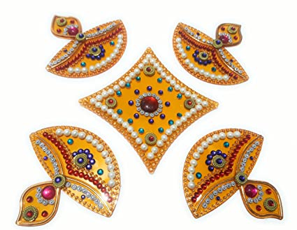 Buy Handcrafted Decorative Diwali Rangoli Set Multicolor Jewel Classy Decorative Rangoli Designs With Stones And Kundans