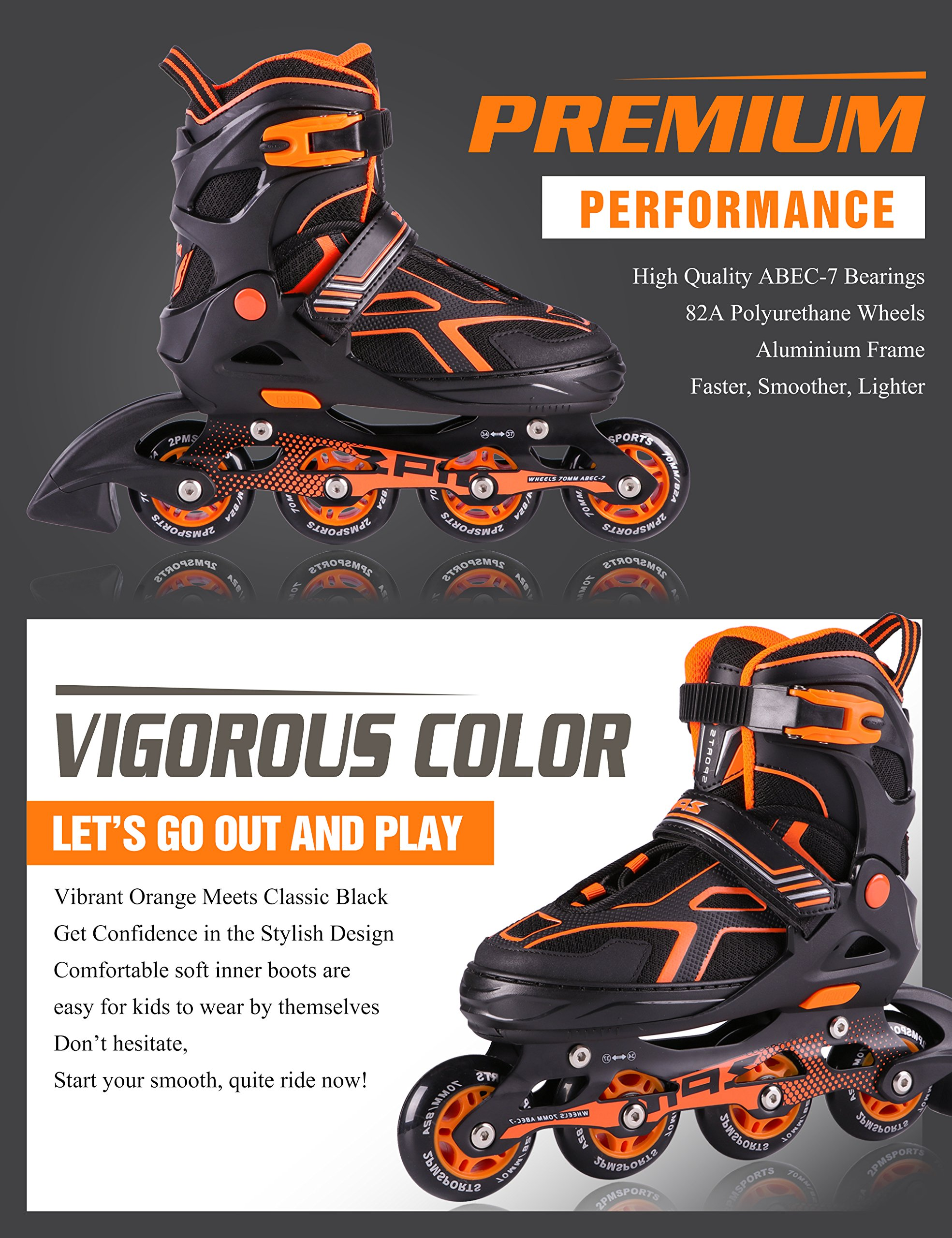2PM SPORTS Torinx Orange Black Boys Adjustable Inline Skates, Fun Skates for Kids, Beginner Roller Skates for Girls, Men and Ladies - Medium (US 2-5) by 2PM SPORTS (Image #4)