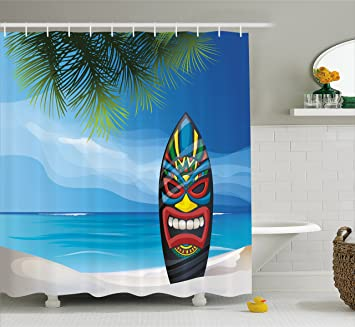 Beau Tiki Bar Decor Shower Curtain By Ambesonne, Tiki Warrior Mask Design  Surfboard On Ocean Beach