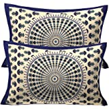 "RajasthaniKart Floral 2 Piece Cotton Pillow Covers - 17""x 27"", Blue"