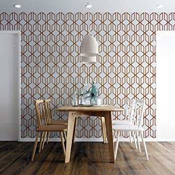 Buy Modern Geometric Shape 3d Hexagon Bronze Lines Peel And Stick Wallpaper Removable Wall Mural 6213 9ft H X 12ft W Modern Bronze Pattern Online At Low Prices In India Amazon In