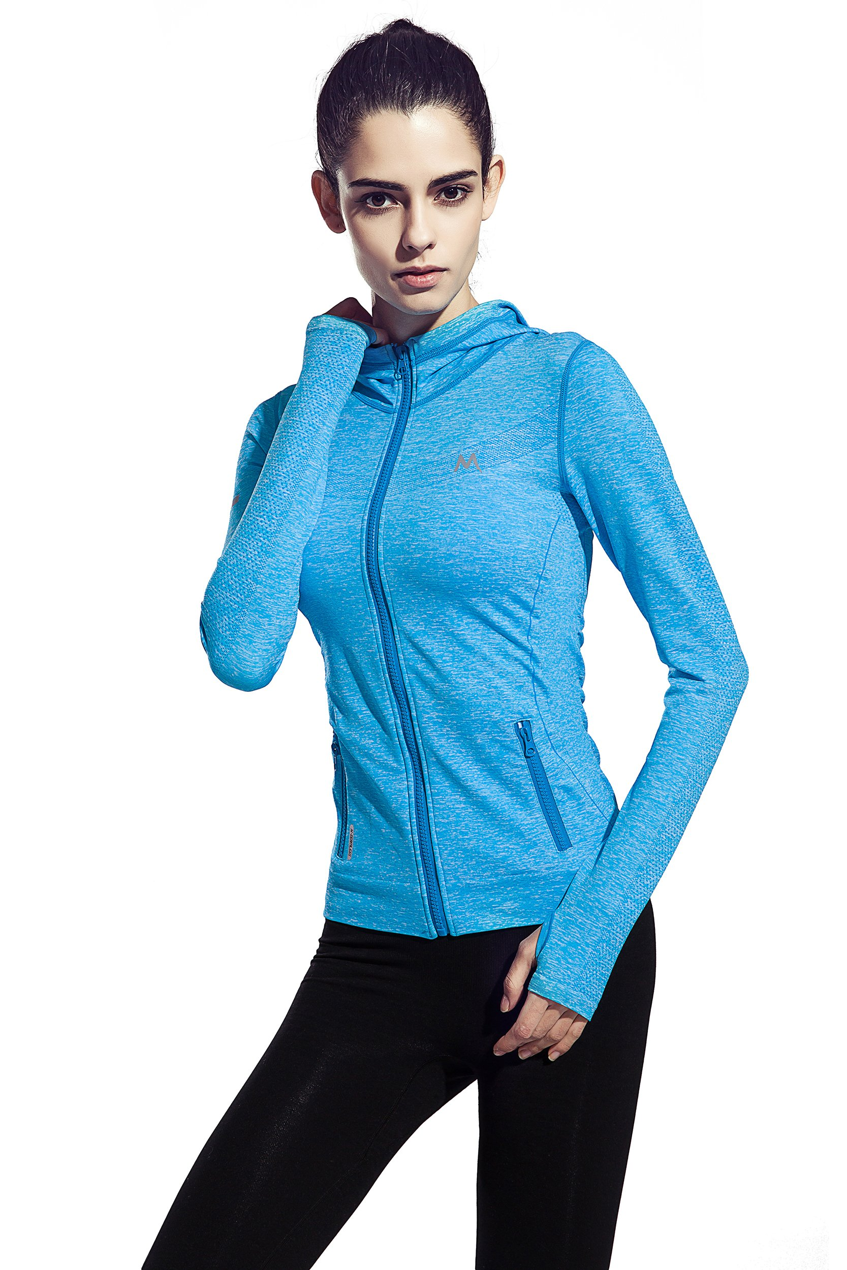 HonourSport Women's Stretchy Workout Dri-Fit Hooded Jacket Blue, S