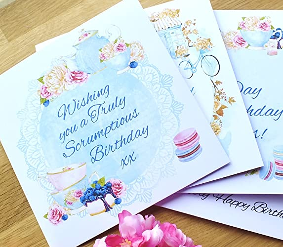 Set Of 4 Birthday Cards Country Cottage Chic Afternoon Tea Card