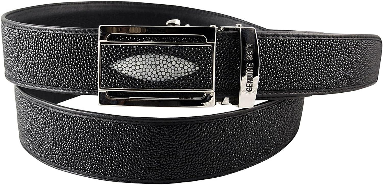 Amazon.com: Cinturón de piel auténtica de color negro (46.1 ...