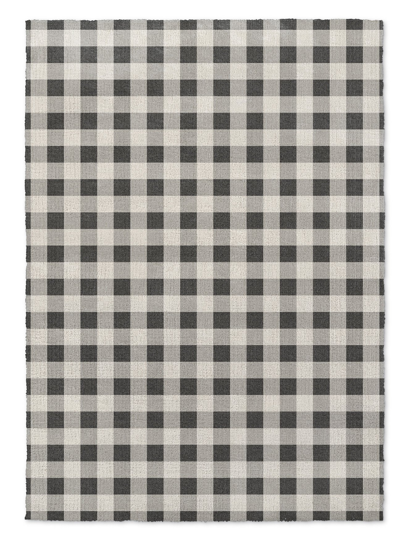 KAVKA Designs BW Gingham Area Rug, (Black/Grey/Ivory) - ENCOMPASS Collection, Size: 3x5x.5 - (MGTAVC2140RUG35)
