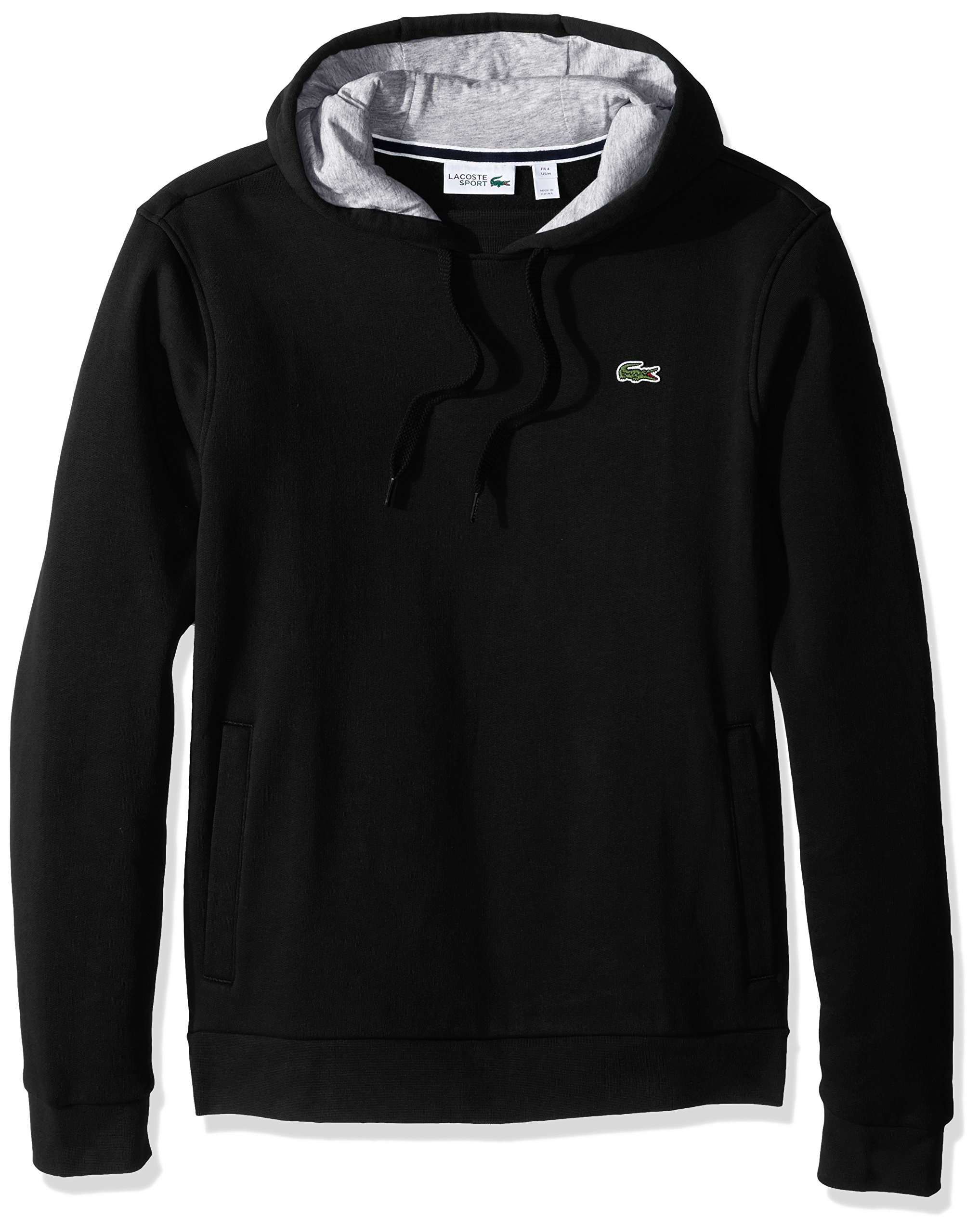 Lacoste Men's Sport Pull Over Hoodie Fleece Sweatshirt, SH2128, Black/Silver Chine, XXX-Large