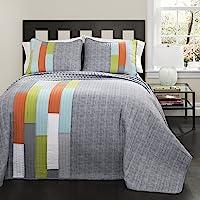 (Full/Queen, Orange) - Lush Decor 3 Piece Shelly Stripe Quilt Set, Full/Queen, Orange