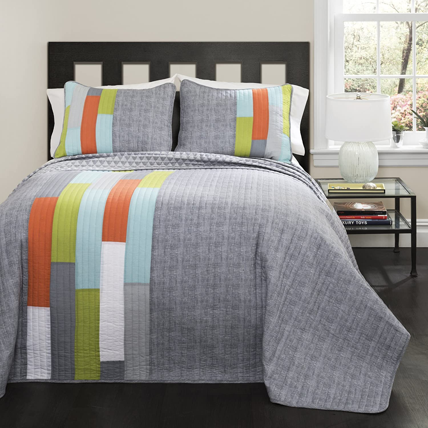 Lush Decor Shelly Stripe Quilt | Modern Geometric Pattern Reversible 3 Piece Bedding Set-King-Gray and Orange