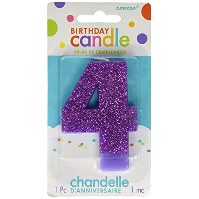 #4 Glitter Birthday Candle | Purple | Party Supply: Kitchen & Dining