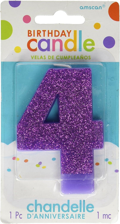 Amazon.com: Morado # 4 cumpleaños con purpurina 3.25