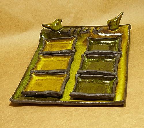 Judaic Israeli art, Seder plate Passover decor Passover gift orange green seder plate ceramic Passover plate
