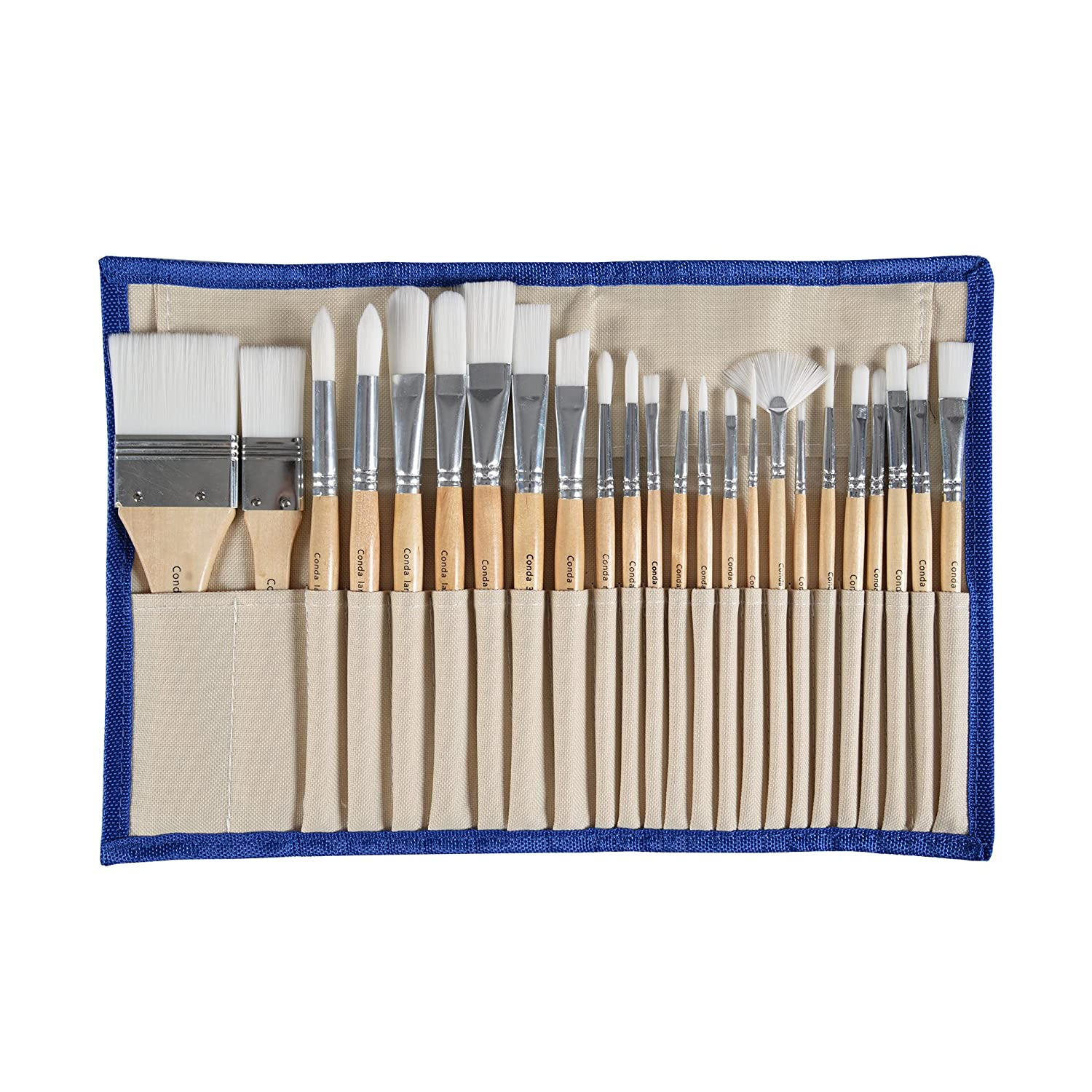 Conda 24 Pcs Paint Brushes Set Professional Wood Handle With Case by Conda