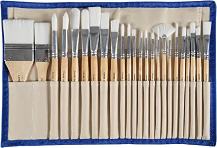 CONDA Paint Brushes Set of 24 Different Shapes Ergonomic Professional Wood Handles with Organizing Case for Acrylic Oil Watercolor, Rock Painting