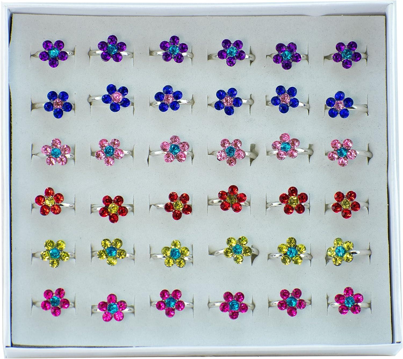 Giggle Time - Anillos ajustables para niñas con diseño de margaritas brillantes (36) piezas – Recuerdos de fiesta, relleno de piñata, bolsas de regalo, premios de carnaval, incentivos escolares