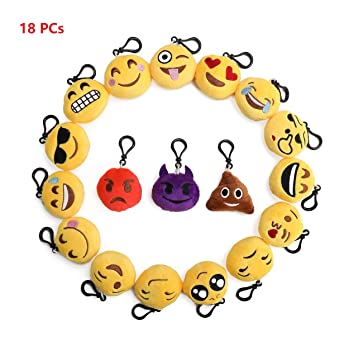 flintronic Llavero de Emoji, Set de 18pcs Emoji Peluche ...