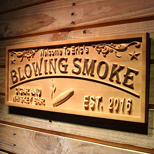ADVPRO wpa0407 Blowing Smoke Name Personalized Cigar Whiskey Bar Wood Engraved Wooden Sign – Standard 23 x 9.25
