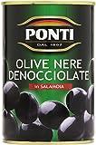 Ponti - Olive Nere , Denocciolate in Salamoia - 400 g 425 ml