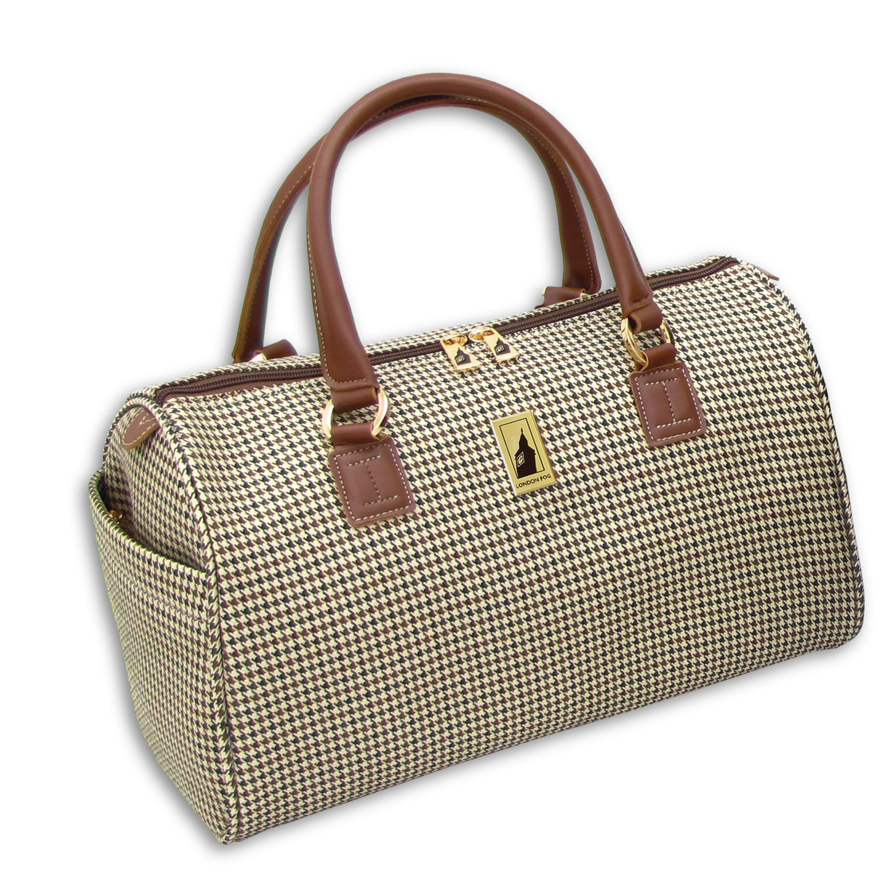 London Fog Luggage Chelsea 16 Inch Satchel Tote, Olive Plaid, One Size