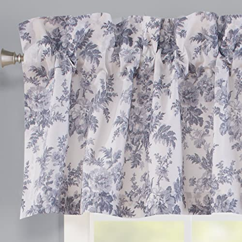 Laura Ashley Home Annalise Floral Collection Stylish Premium Hotel Quality Valance Curtain, Chic Decorative Window Treatment for Home D cor, 86 X 15 , Shadow Grey