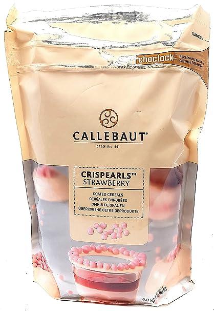 Callebaut Crispearls Fresa - Perlas de Galleta Tostada (cereales) bañadas con Chocolate Blanco con
