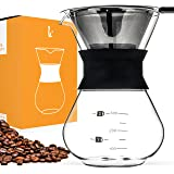 Pour Over Manual Hand Drip Coffee Maker - Glass Carafe Coffeemaker Pot with Stainless Steel Permanent Filter