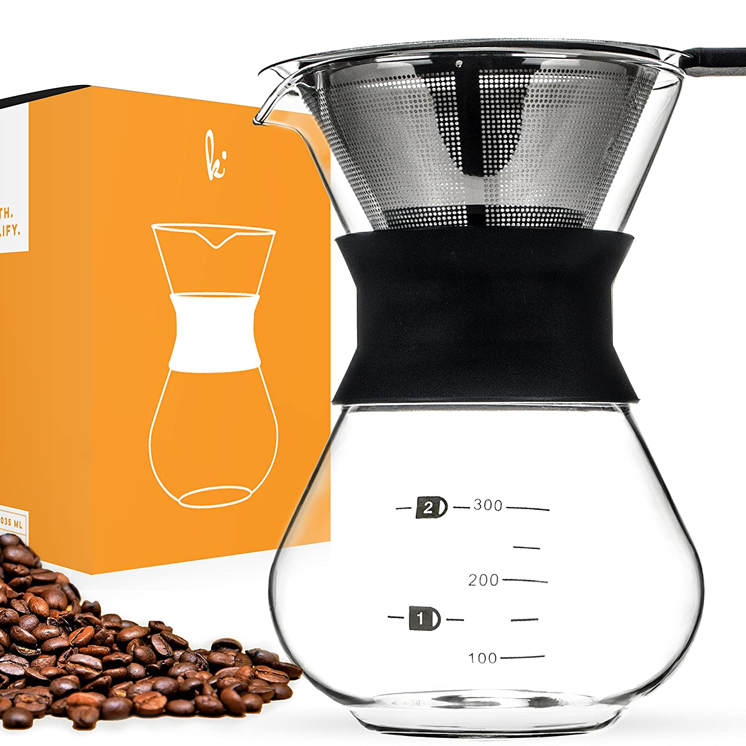 Pour Over Manual Hand Drip Coffee Maker - Glass Carafe Coffeemaker Pot with Stainless Steel Permanent Filter Kitchables SYNCHKG090484