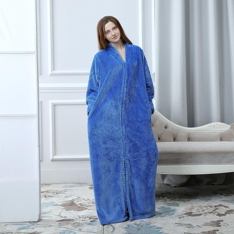 Womens Winter Front Zipper Extra Long Warm Fleece Bathrobes Plush Robe  Nightgown at Amazon Women s Clothing store  341a8f0a6