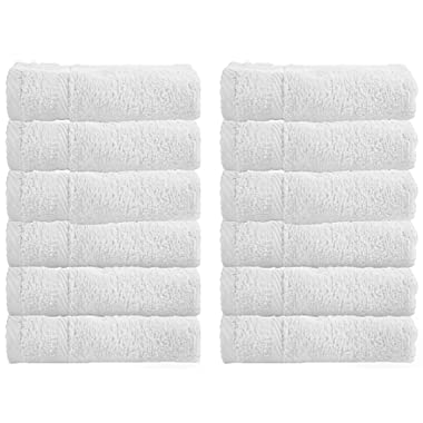 WhiteClassic Luxury Washcloths for Bathroom-Hotel-Spa-Kitchen - Circlet Egyptian Cotton - Highly Absorbent Hotel Quality Face Towels - Bulk Set of 12 - White