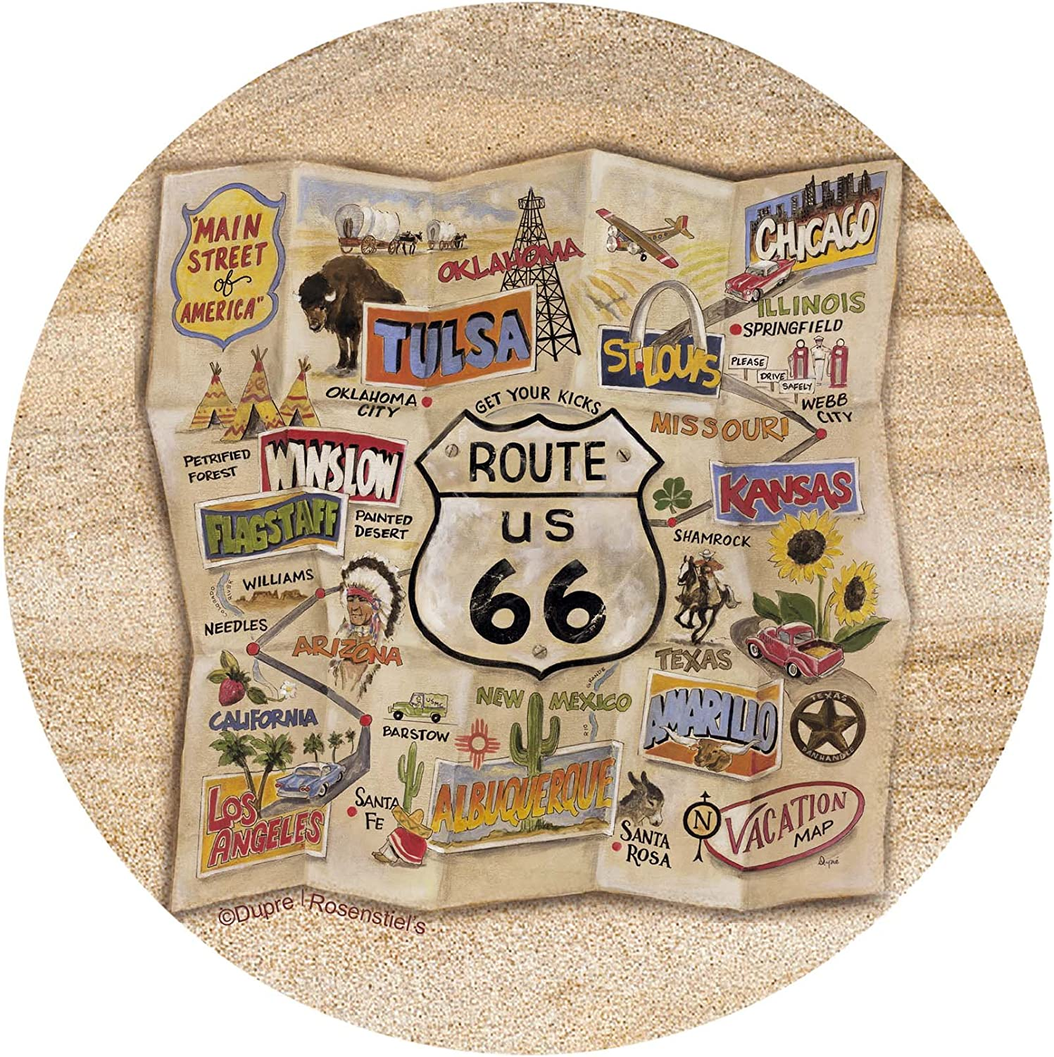 Thirstystone Drink Coaster Set, Route 66 Map