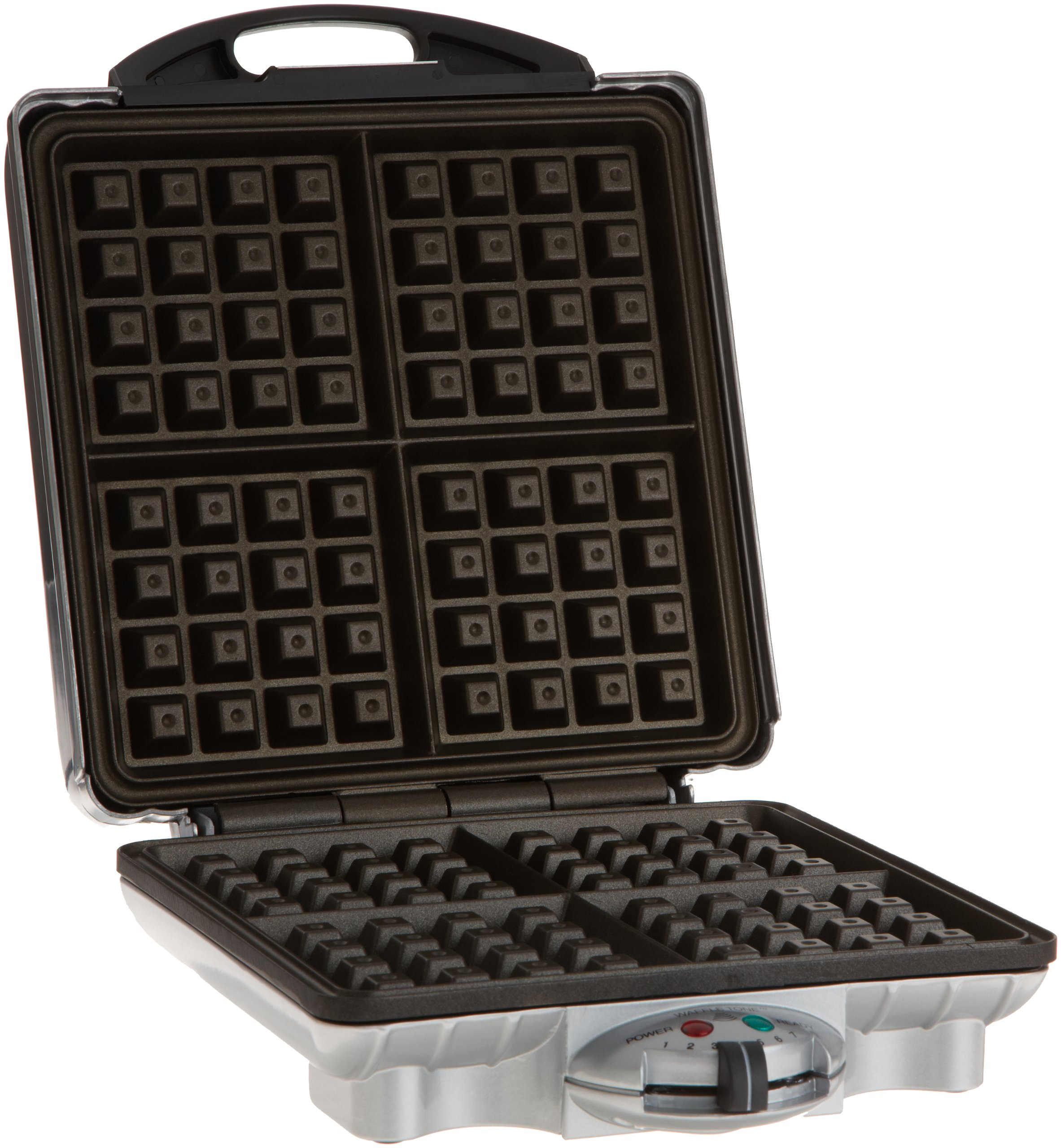 Four Square Extra Large Belgian Waffle Maker- Non-stick Family Size Retro Waffler Iron w Adjustable Browning Control- Beeps When Ready