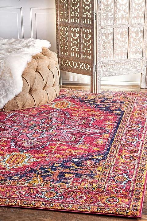 Amazon.com: Traditional Area Rugs Pink Orange Rosette Design Large ...