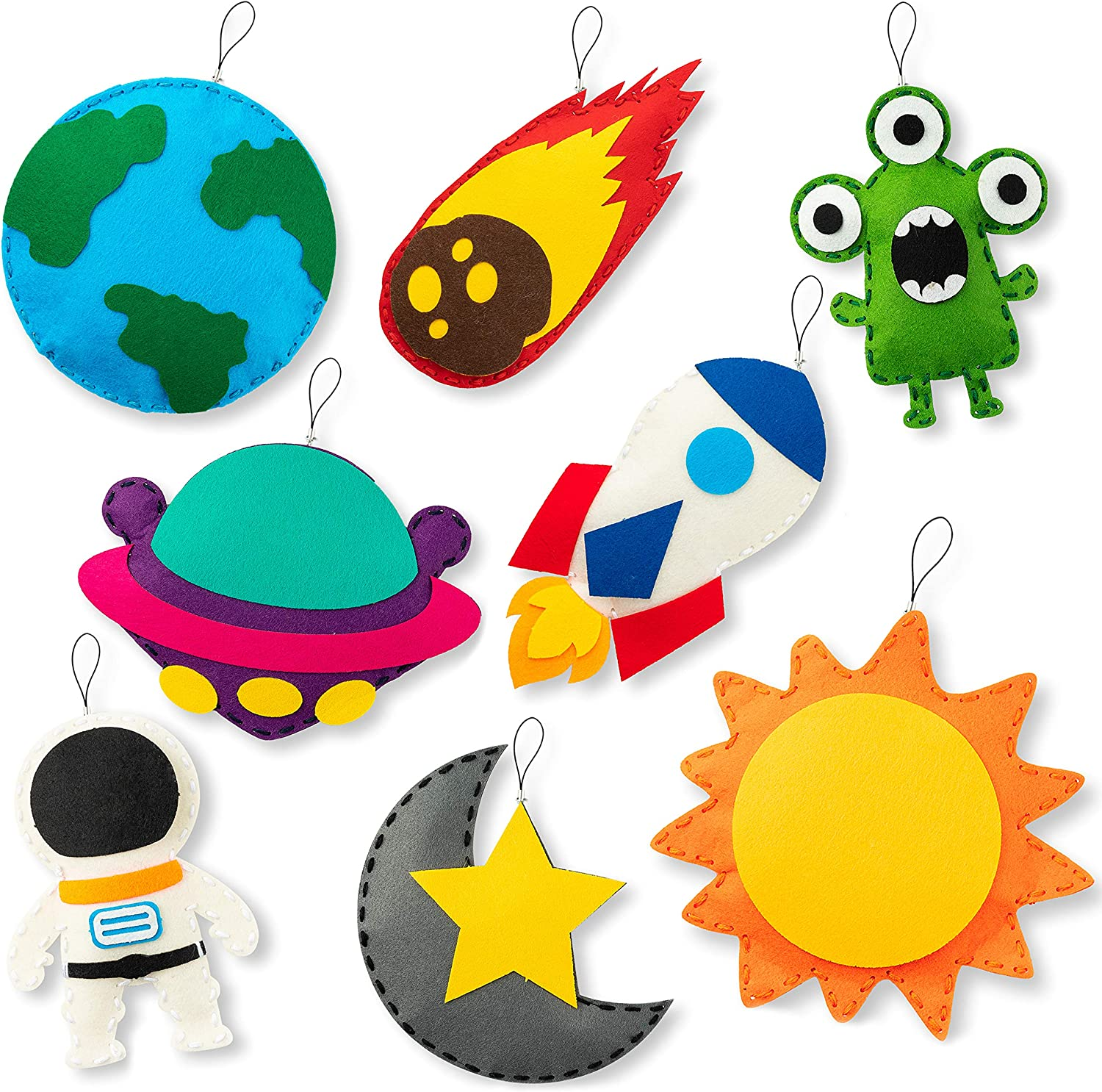 WATINC 8Pcs Outer/ Space Sewing Kit DIY Art Craft Ornaments Sew Kits Astronaut Alien Rocket the Earth the Sun Moon Star Spaceship Meteorolite Creative Indoor Activity Party Supplies Gift for Girls Boys