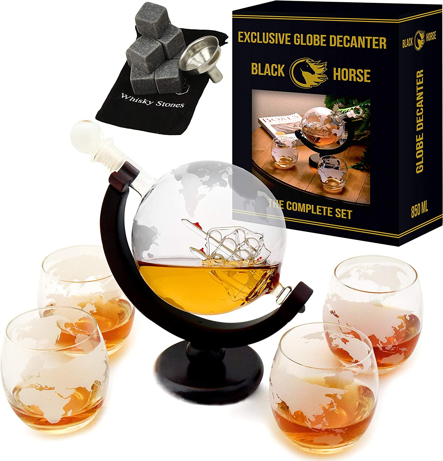 Whiskey Decanter – Best Ship Whiskey Decanter Set (30oz) with nice Gift Box – Ideal Christmas gifts for men - Housewarming gifts for new home –Globe Decanter for Scotch or Liquor