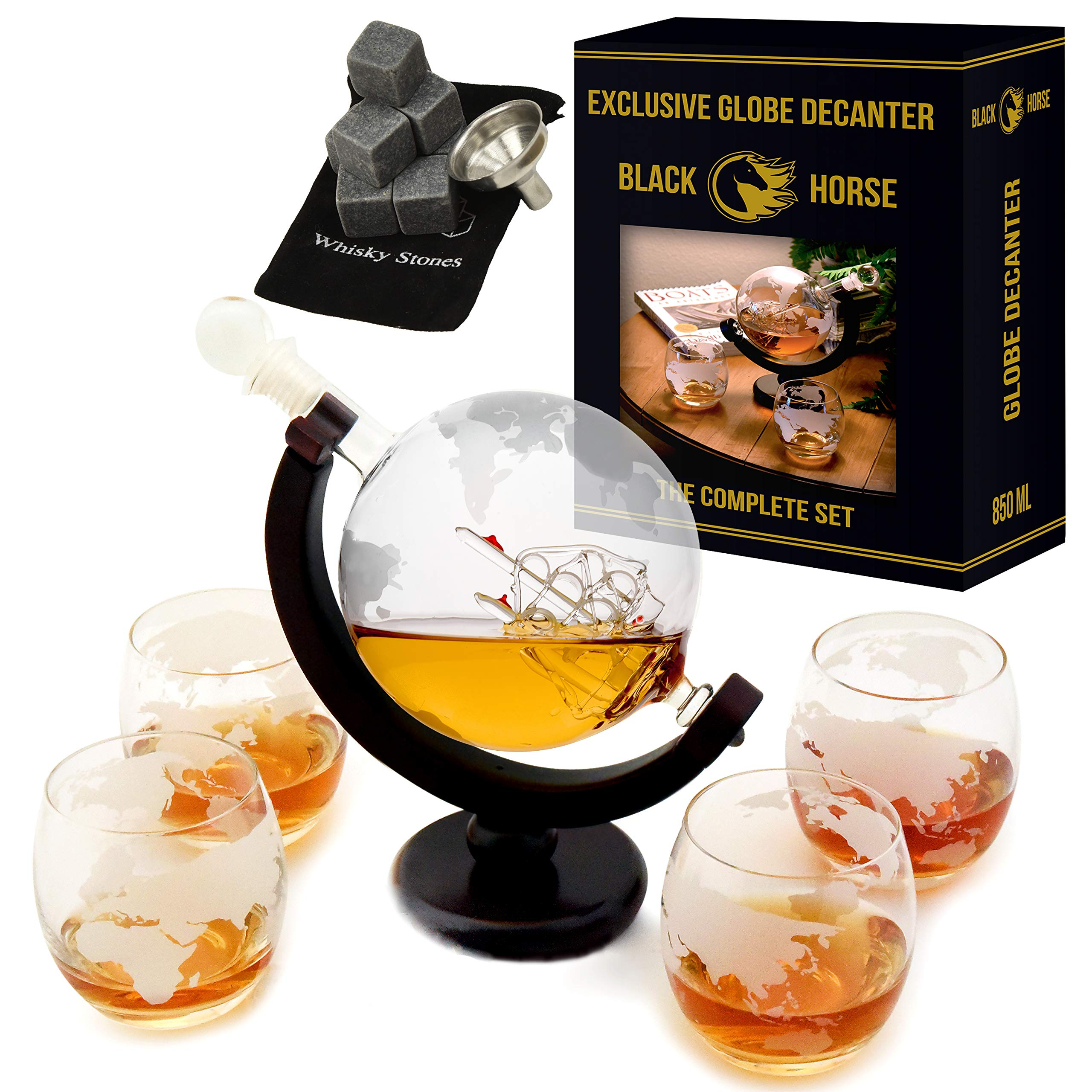 Whiskey Decanter - Best Ship Whiskey Decanter Set (30oz) with nice Gift Box - Ideal Christmas gifts for men - Housewarming gifts for new home -  Globe Decanter for Scotch or Liquor        by Black Horse (Image #1)